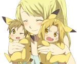 1girl 2boys ;d ^_^ alphonse_elric bad_id blonde_hair blush chibi closed_eyes cosplay costume edward_elric fullmetal_alchemist holding maruki_(punchiki) multiple_boys open_mouth pikachu pikachu_(cosplay) pokemon smile sweatdrop wink winry_rockbell yellow_eyes