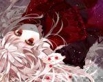 1girl dress k_(anime) kushina_anna lolita_fashion long_hair looking_at_viewer lying marble red_eyes rirako silver_hair
