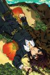 androgynous belt brown_eyes brown_hair coat flower gun gy kino kino_no_tabi lying nadashima_gy reverse_trap solo tomboy water weapon