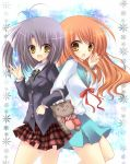 asahina_mikuru asakura_hayate asakura_ibuki back-to-back back_to_back bad_id bag brown_eyes brown_hair cat crossover fang goto_yuko gotou_yuuko grey_hair long_hair multiple_girls ootori_naru oretachi_ni_tsubasa_wa_nai school_uniform seiyuu_connection seiyuu_joke short_hair side_ponytail suzumiya_haruhi_no_yuuutsu waving