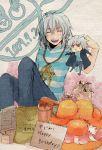 androgynous bad_id bakura_ryou ryou_bakura shirt striped striped_shirt tsuwabuki_utsuri yami_bakura yu-gi-oh! yuu-gi-ou yuu-gi-ou_duel_monsters
