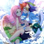 caibao fluttershy highres my_little_pony my_little_pony_friendship_is_magic personification rainbow_dash yuri