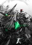 1boy black_getter cape getter_robo glowing mecha nagare_ryoma red_scarf santa_fung scarf shin_getter_robo size_difference spot_color standing_on_shoulder