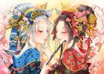 2girls black_hair blue_eyes bust cherry_blossoms comb finger_to_another's_mouth grin hair_bobbles hair_ornament hair_ribbon hair_stick hair_up heterochromia japanese_clothes kimono kiseru multiple_girls nekozuki_yuki original payot pipe red_eyes ribbon smile tree_branch white_hair