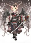1girl black_gloves blonde_hair flower frills gloves hair_flower hair_ornament hair_stick hair_tubes horns katana left-handed long_hair low_twintails nekozuki_yuki original pointy_ears skirt solo sword twintails weapon wide_sleeves wings yellow_eyes
