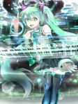 119 1girl :d aqua_eyes aqua_hair arm_up bare_shoulders black_legwear black_skirt detached_sleeves hatsune_miku highres instrument long_hair necktie open_mouth pleated_skirt shirt skirt sleeveless sleeveless_shirt smile solo speaker synthesizer thigh-highs twintails very_long_hair vocaloid white_shirt zettai_ryouiki