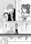 blush coat comic fur_hat hat konomu0522 kujikawa_rise monochrome persona persona_4 persona_4_the_golden shirogane_naoto snow tatsumi_kanji translation_request