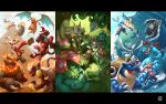 beak beard blastoise blaziken charizard chesnaught claws cliff decidueye delphox emboar empoleon facial_hair fangs feraligatr fins fire flying_kick grass greninja highres horns incineroar infernape kicking kuroi-tsuki leaf letterboxed looking_at_viewer meganium no_humans pokemon pokemon_(creature) pokemon_(game) pokemon_bw pokemon_dppt pokemon_gsc pokemon_rgby pokemon_rse pokemon_sm pokemon_xy primarina samurott sceptile serperior shade snout swampert swimming tail_fin torterra tree tree_shade typhlosion venusaur wand water waving wings