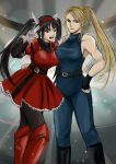 2girls ;) arm_around_waist belt black_hair black_legwear blonde_hair bodysuit boots breasts brown_eyes company_connection crossover fighting_vipers fingerless_gloves gloves green_eyes hairband halterneck hand_on_another's_shoulder hand_on_hip hayame_(m_ayame) highres honey_(fighting_vipers) knee_boots large_breasts long_hair multiple_girls muscle one_eye_closed pantyhose ponytail puffy_sleeves sarah_bryant sega skirt skirt_set sleeveless smile taut_clothes twintails v_over_eye virtua_fighter white_gloves