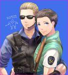 2boys albert_wesker blonde_hair blue_eyes brown_hair chris_redfield multiple_boys resident_evil resident_evil_1 ritsu_(0015-xxxlxxxr) sunglasses vest