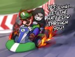 2boys crossover driving english facial_hair hat kart luigi mario_kart mario_kart_8 monorus multiple_boys mustache palpatine star_wars super_mario_bros.