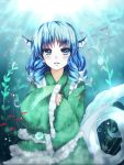 1girl animal_ears blue_eyes blue_hair bubble fish head_fins japanese_clothes kimono long_sleeves mermaid mirin monster_girl obi open_mouth sash seaweed short_hair smile solo touhou underwater wakasagihime water wide_sleeves