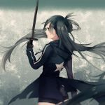 1girl black_hair black_rock_shooter black_rock_shooter_(character) blue_eyes dama_(sindygao) gloves highres holding hooded_jacket long_hair looking_at_viewer looking_back short_shorts shorts solo sword twintails very_long_hair weapon