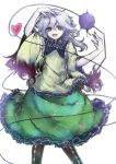 1girl bow eyeball heart heart_of_string highres komeiji_koishi no_hat open_mouth short_hair simple_background skirt smile solo third_eye touhou white_background yuxyon