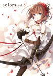 1girl blue_eyes bow_(weapon) breasts brown_hair cleavage cover cover_page dress gauntlets hair_ornament highres holding long_hair looking_at_viewer original petals solo weapon white_dress wind yon_(letter)