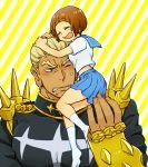 1boy 1girl blonde_hair blush brown_hair gamagoori_ira hug kazaya kill_la_kill mankanshoku_mako school_uniform serafuku smile socks spikes striped striped_background uniform