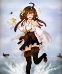 1girl admiral_(kantai_collection) ahoge brown_hair brown_legwear carrier closed_eyes clouds cloudy_sky facing_viewer hat hat_removed headgear headwear_removed kantai_collection kongou_(kantai_collection) long_hair military military_uniform nontraditional_miko ocean open_mouth outdoors peaked_cap pleated_skirt pulling ribbon-trimmed_sleeves ribbon_trim running_on_water scan skirt sky smile solo splashing t-head_admiral thigh-highs uniform warship wide_sleeves windhide