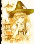 1girl blonde_hair boiling book bookshelf braid chemicals chemistry chemistry_set collared_shirt hand_on_own_cheek hat keiko_(mitakarawa) kirisame_marisa lamp looking_at_viewer open_book puffy_short_sleeves puffy_sleeves short_sleeves single_braid sitting sketch smile solo steam table touhou vial witch_hat yellow_eyes