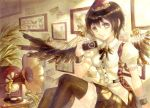 1girl belt black_hair black_legwear black_skirt black_wings brown_eyes butterfly camera collection ears keiko_(mitakarawa) light_rays looking_at_viewer mechanical_wings phonograph picture_(object) plant puffy_short_sleeves puffy_sleeves record shameimaru_aya short_sleeves sitting skirt smile solo steampunk steampunk_(liarsoft) stereo sunbeam sunlight thigh-highs touhou wings wrist_cuffs zettai_ryouiki
