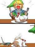 bird blonde_hair chicken cucco fork hat kamiura knife link pointy_ears scarf shoulder_pads smile the_legend_of_zelda zelda_musou