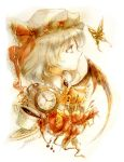 1girl ascot bat_wings bust butterfly cup eyebrows flower hat hat_ribbon keiko_(mitakarawa) lips mob_cap nose pocket_watch profile red_eyes remilia_scarlet ribbon scarlet_devil_mansion short_hair simple_background sketch solo spilling tea teacup touhou watch wings