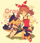 1girl bandana bare_shoulders blue_eyes cosplay_pikachu glasses haruka_(pokemon)_(remake) one_eye_closed pikachu poke_ball pokemon pokemon_(creature) pokemon_(game) pokemon_oras sitting stethoscope yumenouchi_chiharu