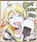 1girl :d ^_^ ahoge blonde_hair closed_eyes collarbone food green_nails happy_birthday hoshii_miki idolmaster long_hair marker_(medium) onigiri open_mouth portrait shikishi smile solo t-okada traditional_media