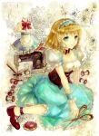1girl alice_margatroid alice_margatroid_(pc-98) ankleband apron blonde_hair blue_dress blue_eyes book bow breasts capelet choker collarbone corset dress flower frilled_dress frilled_shirt frills hairband jar keiko_(mitakarawa) large_bow light_smile maid_apron mannequin needle open_book puffy_short_sleeves puffy_sleeves scissors sewing_machine sewing_needle short_hair short_sleeves sitting solo symbol thread touhou touhou_(pc-98) wariza wrist_cuffs