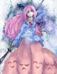 1girl blood bow bubble_skirt hata_no_kokoro highres long_hair long_sleeves naginata pink_eyes pink_hair plaid plaid_shirt polearm shirt skirt solo touhou very_long_hair weapon yuxyon