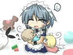 1boy 2girls :d ? ^_^ ahoge animalization baby blonde_hair blue_eyes blush_stickers bow braid brown_hair carrying closed_eyes commentary_request crossover gomasamune green_eyes hair_bow hair_ribbon izayoi_sakuya kantai_collection multiple_girls open_mouth original ribbon shimakaze_(kantai_collection) shimakaze_(seal) silver_hair sitting sleeping smile sweatdrop touhou translation_request twin_braids zzz