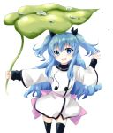 1girl blue_eyes blue_hair blush leaf_umbrella long_hair noel_(sora_no_method) open_mouth rocha_(artist) smile solo sora_no_method thigh-highs two_side_up