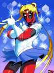 bishoujo_senshi_sailor_moon blonde_hair blue_skirt cosplay daredevil deadpool double_bun elbow_gloves gloves hair_ornament highres long_hair magical_girl marvel one_eye_closed parody rariatto_(ganguri) sailor_collar sailor_moon sailor_moon_(cosplay) sailor_senshi skirt spider-man the_punisher tiara tsuki_ni_kawatte_oshioki_yo twintails