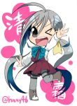 >_o 1girl 8997744 ;d ahoge chibi grey_eyes kantai_collection kiyoshimo_(kantai_collection) long_hair looking_at_viewer low_twintails one_eye_closed open_mouth school_uniform silver_hair smile solo translation_request twintails