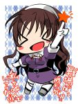 >_< 1girl 8997744 :d ashigara_(kantai_collection) blush_stickers brown_hair checkered checkered_background chibi hairband kantai_collection long_hair looking_at_viewer open_mouth pointing pointing_up smile solo translation_request twitter_username xd