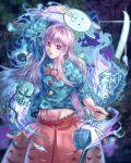 1girl crossover friday_the_13th hata_no_kokoro highres hockey_mask mask naginata polearm purple_hair red_eyes solo stone_mask_(jojo) touhou weapon