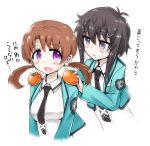 2girls black_hair blush brown_hair food fruit kitayama_shizuku mahouka_koukou_no_rettousei mitsui_honoka multiple_girls necktie orange rocha_(artist) school_uniform smile twintails violet_eyes