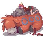 1girl barefoot boots_removed camerupt geeto_gaadian hoodie kagari_(pokemon)_(remake) lavender_hair lying poke_ball pokemon pokemon_(creature) pokemon_(game) pokemon_oras sleeping violet_eyes