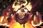 barefoot black_skin dress fire flaming_hair glowing glowing_eyes highres john_su original pumpkin red_dress tagme torn_clothes