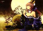 1girl animal_ears bare_shoulders black_legwear blush breasts caster_(fate/extra) cleavage detached_sleeves fate/extra fate_(series) food fox_ears fox_tail fruit full_moon hair_ornament hair_ribbon japanese_clothes large_breasts long_hair long_sleeves looking_at_viewer moon open_mouth pink_hair ribbon sitting solo tail thigh-highs twintails yellow_eyes
