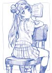 1girl book chain from_behind highres long_hair looking_at_viewer love_live!_school_idol_project minami_kotori monochrome school_uniform sitting sitting_backwards sketch skirt socks solo sweater_vest tetsujin_momoko