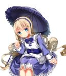1girl absurdres alice_(wonderland) alice_in_wonderland blonde_hair blue_eyes dress highres long_hair original solo tarao77 umbrella