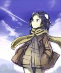 1girl :o animal_ears artist_name black_hair blue_sky blush clouds dog_ears extra_ears hands_in_pockets izuoku jacket kanno_naoe long_sleeves open_mouth overalls scarf short_hair sky solo strike_witches violet_eyes