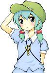 1girl :< alternate_hairstyle aqua_eyes aqua_hair arm_up hat kawashiro_nitori key low_twintails meme-tan_(bana_nan26) puffy_short_sleeves puffy_sleeves shirt short_sleeves skirt solo touhou twintails