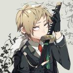 1boy brown_eyes brown_hair gloves kagerou_project kano_shuuya katana kiragera military military_uniform short_hair solo sword uniform weapon