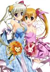 2girls :d absurdres asteion blonde_hair blue_eyes blush breasts cleavage dress einhart_stratos elbow_gloves flower fujima_takuya gloves green_eyes green_hair hair_flower hair_ornament heterochromia highres lyrical_nanoha mahou_shoujo_lyrical_nanoha_vivid moire multiple_girls official_art older open_mouth red_eyes sacred_heart scan side_ponytail smile thigh-highs violet_eyes vivio white_legwear