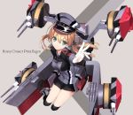 1girl anchor_hair_ornament aqua_eyes blonde_hair blush gloves hair_ornament hat iron_cross kantai_collection long_hair long_sleeves looking_at_viewer microskirt military military_uniform naruse_hirofumi peaked_cap prinz_eugen_(kantai_collection) simple_background skirt smile solo twintails uniform white_gloves