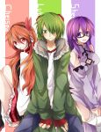1boy 2girls akame_ga_kill! bare_shoulders black_legwear blush breasts character_name chelsea_(akame_ga_kill!) cleavage cleavage_cutout detached_sleeves fingerless_gloves glasses gloves goggles goggles_on_head green_eyes green_hair hair_ornament headphones kneehighs long_dress long_hair long_sleeves lubbock mouth_hold multiple_girls negi_(ngng_9) orange_hair plaid plaid_skirt purple_hair red_eyes semi-rimless_glasses sheele short_hair side_slit sitting skirt smile sweat sweatdrop thigh-highs under-rim_glasses violet_eyes white_legwear