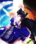 2girls armor armored_dress blonde_hair dark_excalibur dress dual_persona excalibur fate/stay_night fate_(series) faulds glowing glowing_sword glowing_weapon green_eyes highres isozi multiple_girls saber saber_alter sky weapon yellow_eyes
