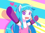 1girl absurdres aqua_hair blush crossover dress drooling heart highres ligerstorm long_hair me!me!me! meme_(me!me!me!) my_little_pony my_little_pony_friendship_is_magic pink_dress pony solo violet_eyes