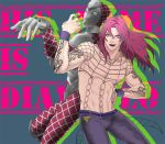 2boys diavolo jojo_no_kimyou_na_bouken king_crimson_(stand) lipstick long_hair makeup multiple_boys pink_hair sanako_(tsubakiiro) shirtless stand_(jojo)